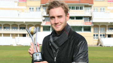 Stuart Broad poses with the trophy after winning ESPNcricinfo's Best Test Bowling Award for 2015