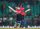 Kyle Coetzer and Matt Machan hug each other after sealing Scotland's win, Hong Kong v Scotland, World T20 qualifiers, Group B, Nagpur, March 12, 2016