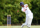 Roston Chase plays a drive during his knock of 59, Trinidad & Tobago v Barbados, Regional 4-day Tournament, 2nd day, Trinidad, March 12, 2016