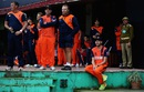 Netherlands' players look on from the dressing room during the rain interruption,  Ireland v Netherlands, World T20 qualifiers, Group A, March 13, 2016