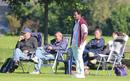 Nolan Clarke (standing) watches Netherlands play, September 14, 2015