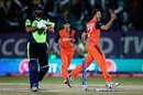 Paul van Meekeren is ecstatic after dismissing Max Sorensen, Ireland v Netherlands, World T20 qualifiers, Group A, Dharamsala, March 13, 2016