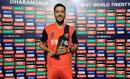 Paul van Meekeren poses with the Man-of-the-Match trophy, Ireland v Netherlands, World T20 qualifiers, Group A, Dharamsala, March 13, 2016
