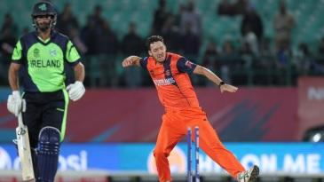 Paul van Meekeren celebrates a wicket with a fist pump