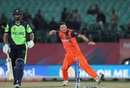 Paul van Meekeren celebrates a wicket with a fist pump, Ireland v Netherlands, World T20 qualifiers, Group A, Dharamsala, March 13, 2016