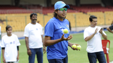 Jhulan Goswami plays during a UNICEF event