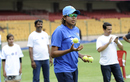 Jhulan Goswami plays during a UNICEF event, Bangalore, March 14, 2016