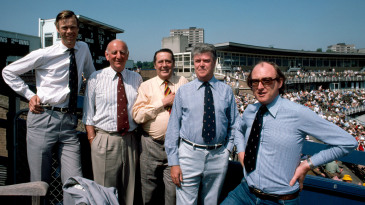 The Test Match Special commentary team (from left): Christopher Martin-Jenkins, Brian Johnston, Trevor Bailey, Don Mosey and Henry Blofeld