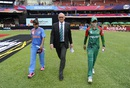 Captains Mithali Raj and Jahanara Alam walk out for the toss with match referee Jeff Crowe, India v Bangladesh, Women's World T20, Group B, Bangalore, March 15, 2016