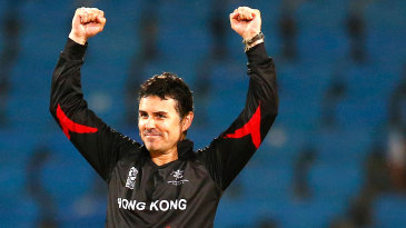 Ryan Campbell celebrates a wicket