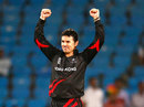 Ryan Campbell celebrates a wicket, Hong Kong v Afghanistan, Group B, World T20, Nagpur, March 10, 2016