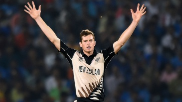 Mitchell Santner celebrates a wicket