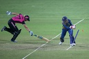 Dilani Manodara completes Sophie Devine's run out, New Zealand v Sri Lanka, Women's World T20 2016, Group A, Delhi, March 15, 2016