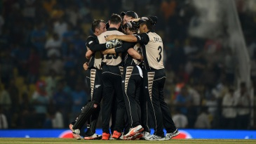 New Zealand huddle after completing a 47-run win