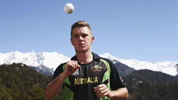 Adam Zampa poses during the Australian team's portrait session