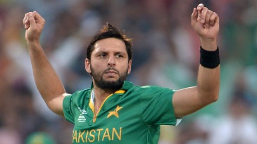 Shahid Afridi is pumped up after taking a wicket