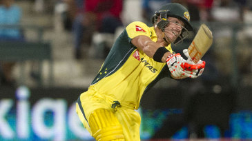 David Warner goes for the big hit