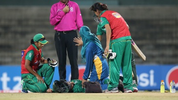 Javeria Khan is attended to after being struck