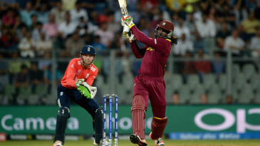 Chris Gayle muscles a shot through the on side