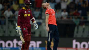 Ben Stokes is frustrated after conceding a six