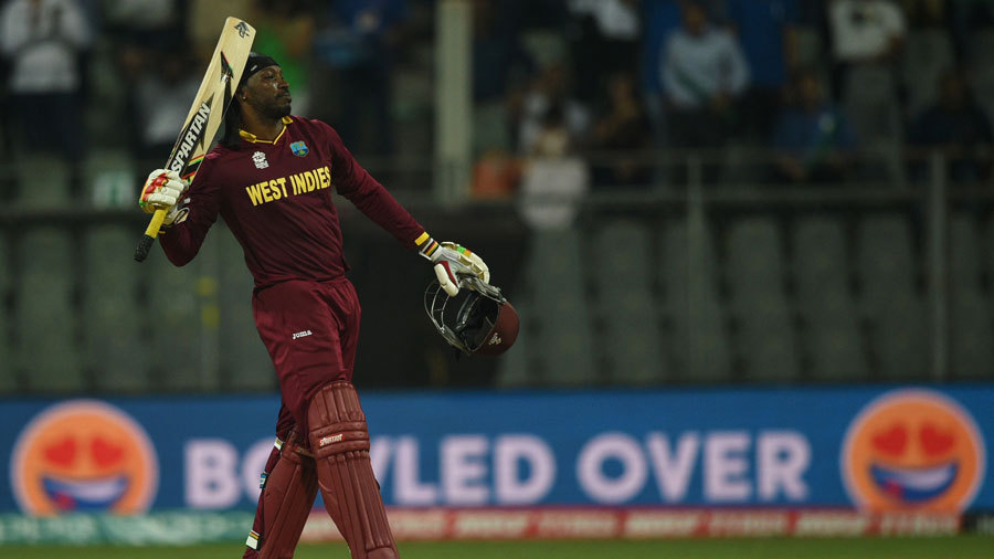 Chris Gayle acknowledges the crowd after his 47-ball ton