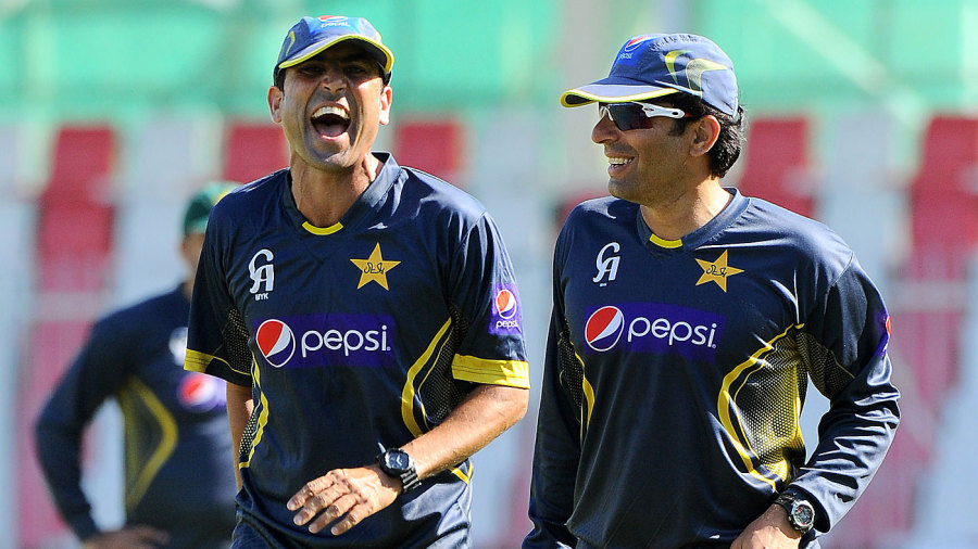 Younis Khan and Misbah-ul-Haq share a light moment