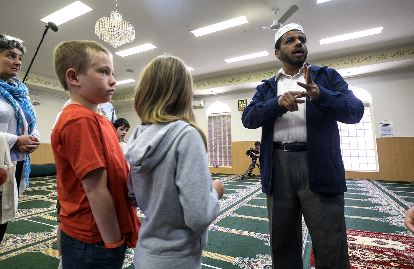 An open day at a mosque in Hoppers Crossing, Melbourne, where Fawad first lived when he came to Australia. Fawad has a role at Cricket Victoria where he is involved in shepherding minorities to the game