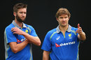 Andrew Tye and Shane Watson have a chat during a training session, Dharamsala, March 17, 2016