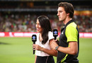 Mel McLaughlin interviews Pat Cummins, Sydney Thunder v Melbourne Renegades, Big Bash League 2015-16, Sydney, January 11, 2016