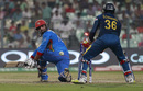 Noor Ali Zadran is bowled around his legs, Afghanistan v Sri Lanka, World T20 2016, Group 1, Kolkata