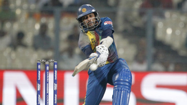 Tillakaratne Dilshan plays a cross-batted shot to the leg side