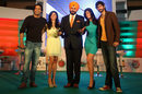The presenters of the IPL TV show Extraa Innings at a press conference in New Delhi. From left: Samir Kochhar, Shivani Dandekar, Archana Vijay, Navjot Sidhu, Gaurav Kapura press conference in New Delhi, March 27, 2012
