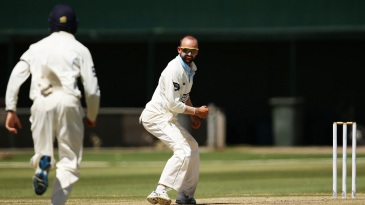 Nathan Lyon is pleased after dismissing Matthew Wade