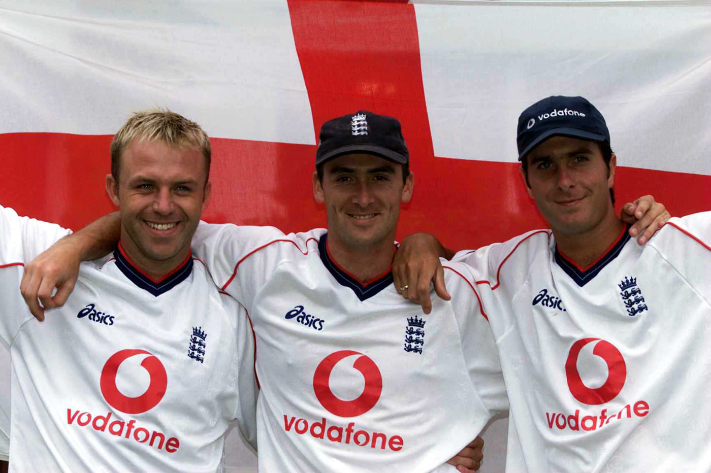 Meet the new boys: debutants Chris Adams, Gavin Hamilton and Michael Vaughan the day before the Johannesburg Test of 1999