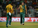 Kyle Abbott celebrates a wicket, England v South Africa, World T20 2016, Group 1, Mumbai, March 18, 2016