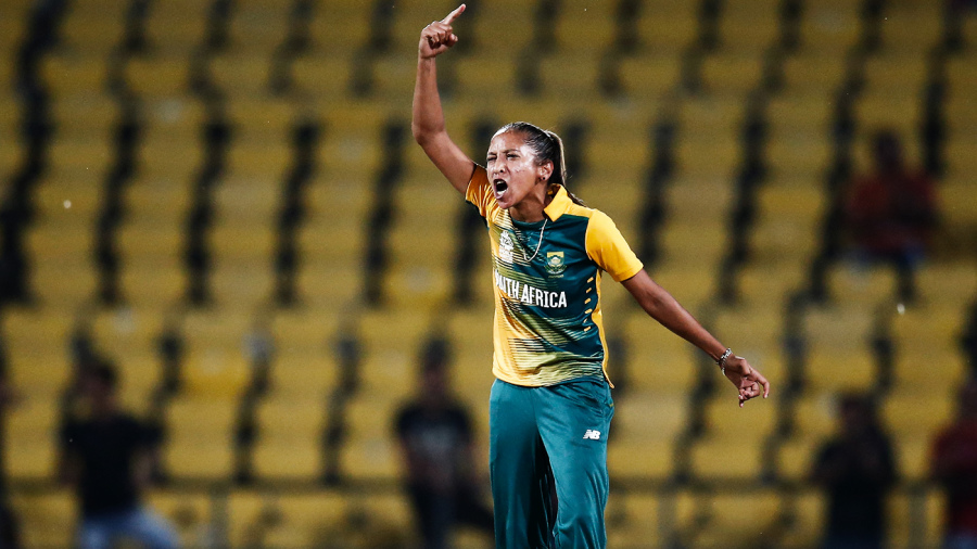 Shabnim Ismail roars after taking a wicket