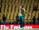 Shabnim Ismail roars after taking a wicket, Australia v South Africa, Women's World T20, Nagpur, March 18, 2016
