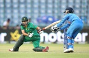 Sidra Ameen tries to sweep the ball, India v Pakistan, Women's World T20, Group B, Delhi, March 19, 2016