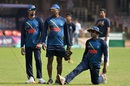 Sachithra Senanayake, Champaka Ramanayake and Angelo Mathews gather during a nets session, World T20 2016, Bangalore, March 19, 2016