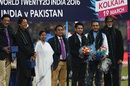 Former cricketers Wasim Akram, Imran Khan, Sunil Gavaskar, Sachin Tendulkar, Virender Sehwag and Indian actor Amitabh Bachchan were felicitated ahead of the game, India v Pakistan, World T20 2016, Group 2, Kolkata, March 19, 2016