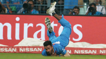 Hardik Pandya pulled off a stunning catch to dismiss Sharjeel Khan