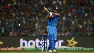 Yuvraj Singh powers a pull shot through midwicket