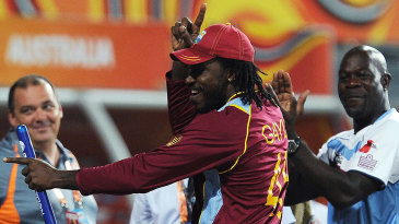 Chris Gayle dances after the win
