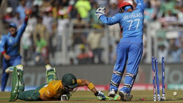 Mohammad Shahzad appeals after Faf du Plessis is caught short of his crease