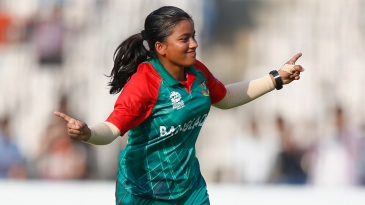 Nahida Akter celebrates after taking a wicket