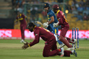 Chris Gayle clings on to a catch off Milinda Siriwardana's bat, Sri Lanka v West Indies, World T20 2016, Group 1, Bangalore, March 20, 2016