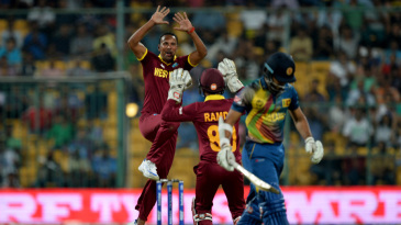 Samuel Badree is jubilant after taking a wicket