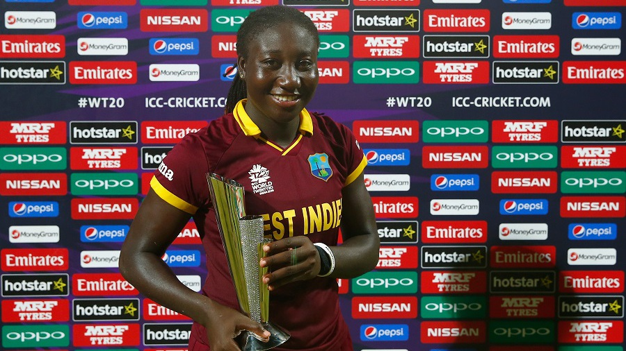 Stafanie Taylor poses with her Player-of-the-Match award