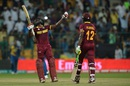 Andre Fletcher and Andre Russell celebrate West Indies' win, Sri Lanka v West Indies, World T20 2016, Group 1, Bangalore, March 20, 2016