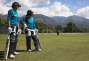 England Women's Jenny Gunn and Danielle Wyatt wait their turn in the nets, Dharamsala, March 21, 2016